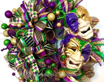 2018 Mardi Gras Wreath, Comedy and Tragedy Mask Wreath, Carnival Wreath, Fat Tuesday Wreath, Mardi Gras Decor, Mardi Gras Front Door