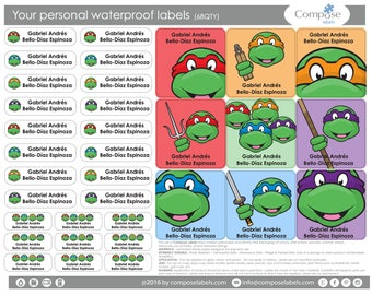 Ninja Turtles - Your personal waterproof labels (68 Qty) Free Shipping