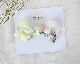 Floral Cotton Mini Knot Bow / Headband / Hairbow /Baby headband / newborn bow / baby girl hairbow