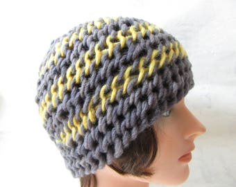 Needlebound hat, grey yellow naturally dyed pure wool, medieval clothing reenactors, vikings dark ages, needlebinding, historically accurate