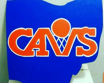 Cleveland Cavs Ohio shaped wall art wooden sign