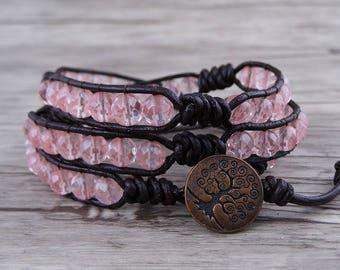 Boho Wrap bracelet Leather Wrap Bracelet beads Bracelet 3 Wraps Bracelet watermelon beads Bracelet Gemstone bracelet BOHO Bracelet SL-0527