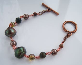 Copper fittings, wire wrap shades of Brown and green