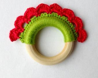 Baby teething toy, Montessori, red green crochet flower, baby teether, baby gift, handmade cotton yarn teething ring,crochet wood toy