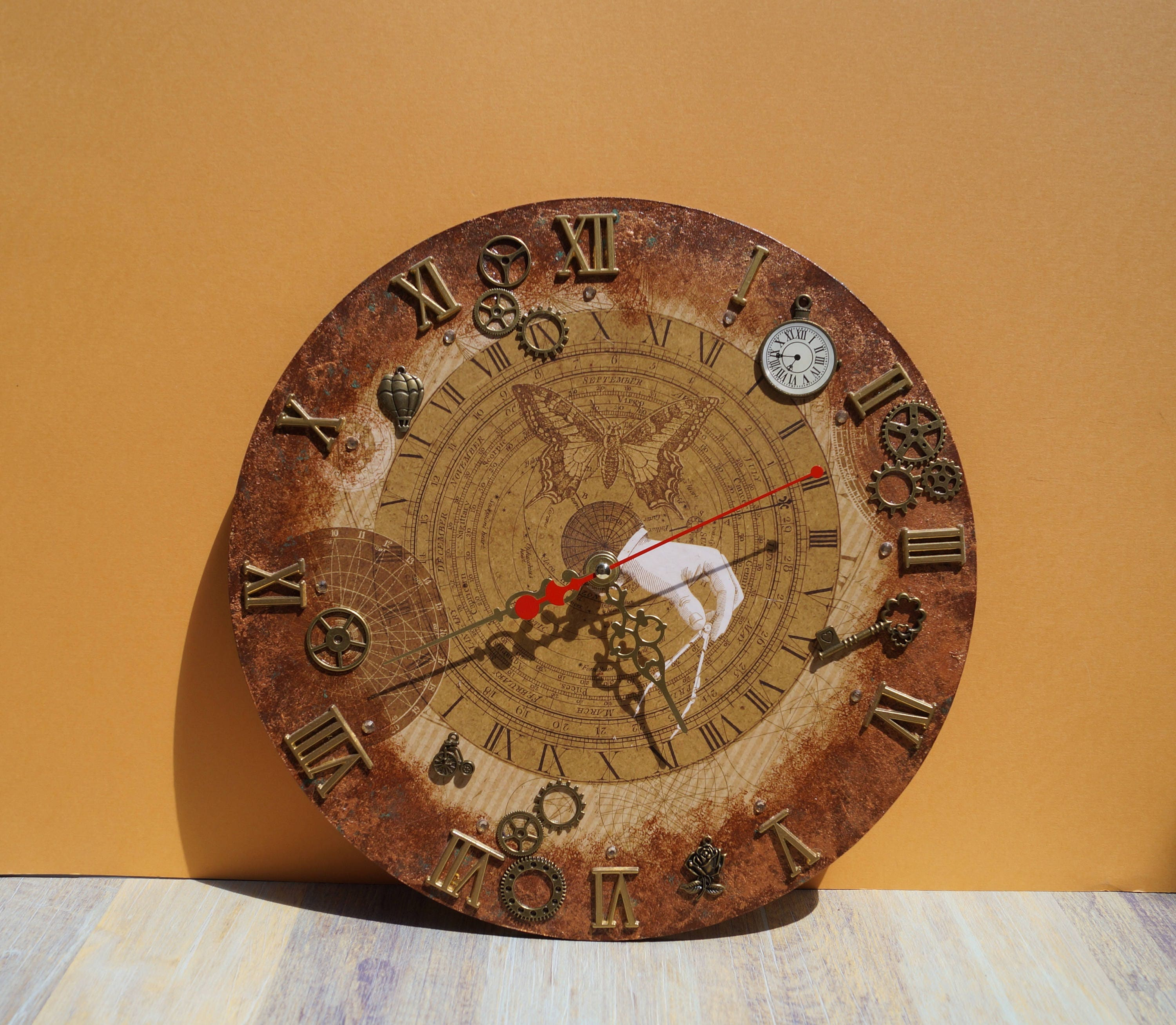Wall clock steampunk wood clock unique wall clock handmade zoom amipublicfo Images
