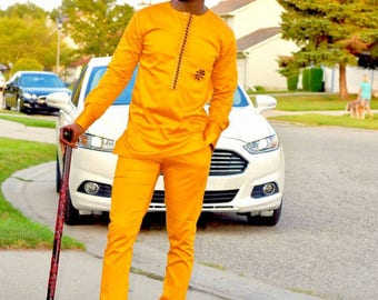 African Men's Outfit, African Clothing, Ankara Men's Wear, Top and Pants