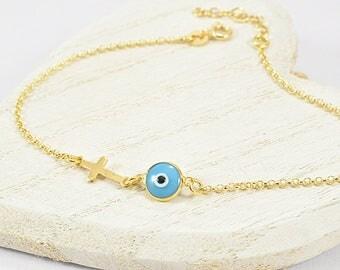 Tiny Evil Eve Bracelet, Evil Eye Bracelet Gold, Evil Eye Jewelry, Evil Eye Cross Bracelet, Greek Evil Eye Bracelet