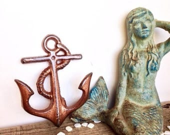 ON SALE Copper Anchor Hooks - Beach Decor - Nautical Home Decor - Copper Bathroom - Bathroom Wall Hooks - Nautical Decor - Copper Wall Decor
