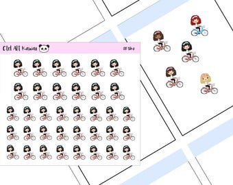 Kawaii Girls Planner Stickers - Bicycle