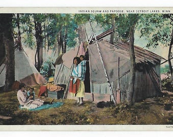 Indian Squaw and Papoose, Detroit Lakes, Minn., Vintage Postcard,