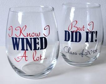 Graduate School Graduation Gift, Graduation Gift, Class of 2018, College Graduation Gift, Graduation Wine Glass