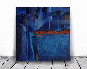 wall abstract art, 12x 12 painting, set of 3 , navy blue and copper, 3D wall art, aqua, modern art, Triptychs, textured art, mixed media