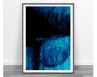 Watercolor abstract print, printable abstract art, blue abstract painting square digital art, printable blue and black wall art, aqua