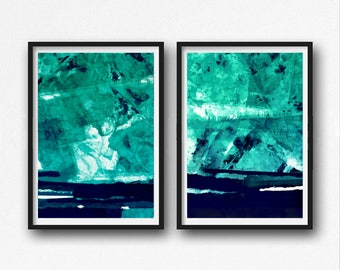Abstract Paintings, teal And White, Large Wall Art, Modern Painting,  Modern Art, Abstract Art, set of 2, navy blue and turqoise, aqua art