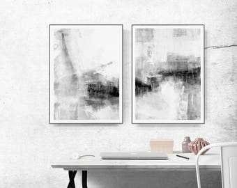 Set of 2 Prints, Abstract Art, Printable Print Set, Two Prints, Grey Wall Art, grey and white  black , Living Room Art, Bedroom Art,