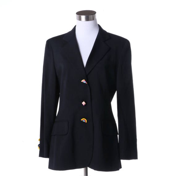 Moschino Cheap and Chic black jacket with rainbow and Olive Oyl buttons, Spring / Summer 2004, size 8.