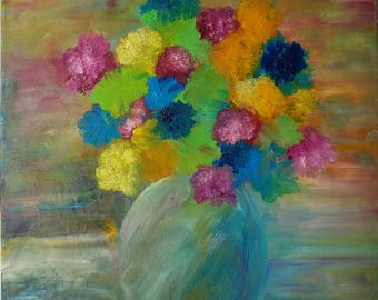Vase of flowers painting, bouquet painting, flower painting, contemporary art, square painting