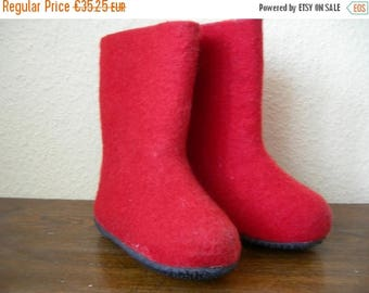 Vintage Red Felted Kids Boots Lahtiset Finland Red Children's Boots Size 23 Eur