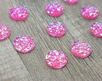 8mm Pink Faux Druzy Cabochon - 10 pcs: 8-DRUZ-B01