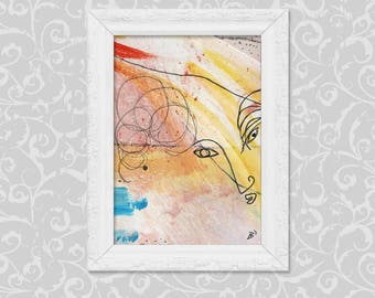 Abstract art DIN A6 painting drawing