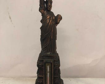 Vintage Metal Statue of Liberty New York Sculpture and Thermometer