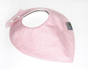 Baby bib Bandana - Lange & pink dots pattern cotton fabric - clip snap