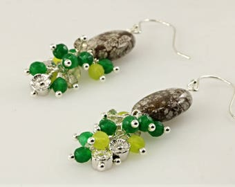 Brown Gemstone Earrings, Gemstone Cluster Earrings, Green Peridot Cluster Earrings, Sterling Silver Bead Cluster Earrings,
