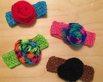 Rose Crochet Handband - Baby Rose Headband - Crochet Rose Stretchy Headband