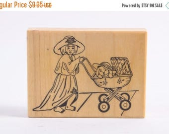 Girl Playing Dress Up with her Dog, Pushing Stroller - Puppy in a Stroller - Child - Rubber Stamp - Vintage ~ 161221
