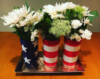 4th of July American Flag Painted Mason Jars (3 total)
