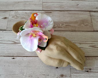 Wedding.Prom.Bridesmaid Wrist corsage.Pink ivory Orchid,Stretchy Braclett