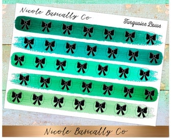 Bow Icons in Turquoise Paint Stroke Colors- Planner Stickers