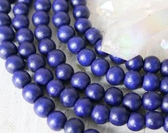 10mm beads, boho beads, blue beads, navy blue, dark blue, wood beads, colorful beads, full strand,