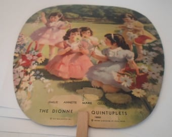 Vintage 1937 Dionne Quintuplets Hand Fan Advertising Sweeney Furniture & Undertaking Co. Geneseo,Il Estate Very good