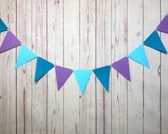 Purple Aqua Bunting, Purple Aqua Teal, Paper Garland, Mermaid Party, Under the Sea, Pennant Banner, Triangle Pennant, Triangle Garland