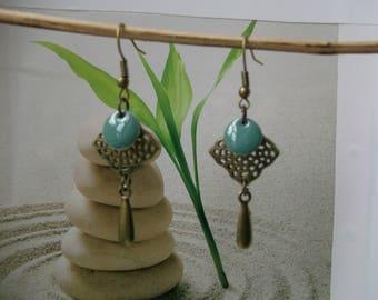 bronze sequin earrings Green