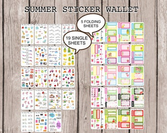 SUMMER STICKER WALLET | perfect for all planners such as Happy Planner, Erin Condren Life Planner, Personal Planners Travelers Notebook