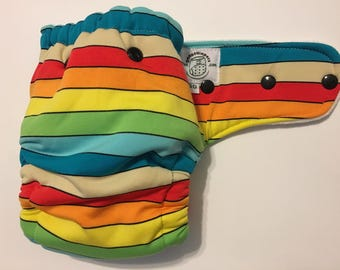 Rainbow Vintage Beach Stripe Hybrid Fitted Cloth Diaper One Size OS FDR Zorb