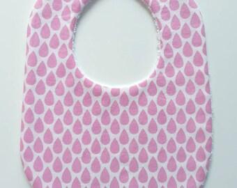 Bavoir pour bébé blanc imprimé de gouttes roses -  Taille naissance (0-6 mois)