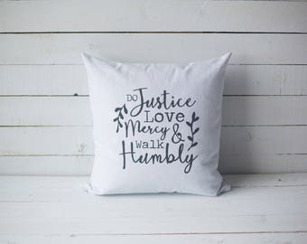 Do Justice Love Mercy Walk Humbly 18x18 screen printed scripture throw pillow cover home decor