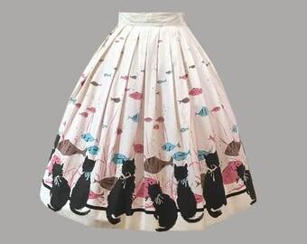 1950s Novelty Border Cat Print Cotton Skirt
