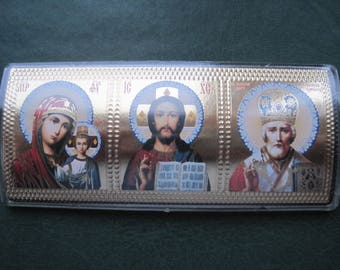 """Small Consecrated Triptych with faces of Jesus Christ, Of the Mother of God """"Kazan"""" and St Nicholas can used as a wall or auto icon"""