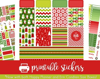 Printable Planner Stickers Bright Christmas / Holiday Weekly Kit! For use with Erin Condren and Happy Planner!