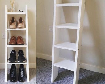 4 shelf solid wood narrow white ladder style shoe rack with too shelf for accessories