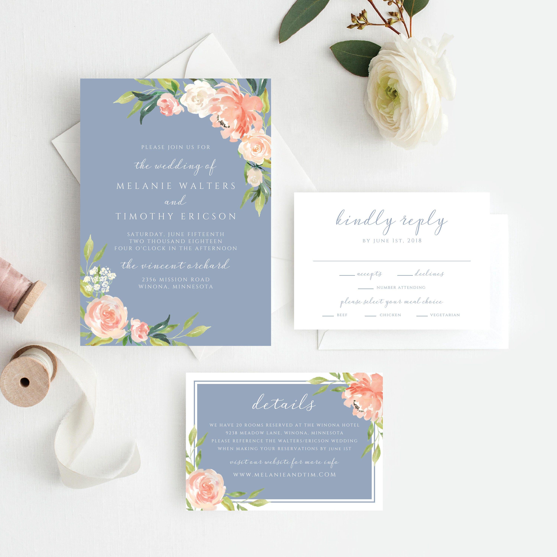 dusty blue wedding invitations printable invitations printable
