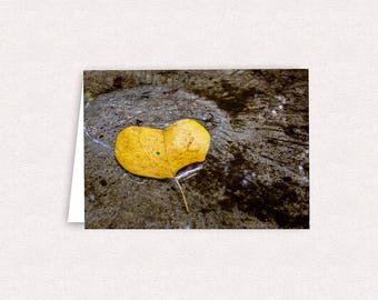 Heart-shaped Yellow Leaf Photo Note Cards 5x7 Blank Greeting Card with envelopes Fall Leaves Stationary Cards Fall Colors