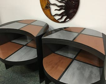 Contemporary one of kind end tables.