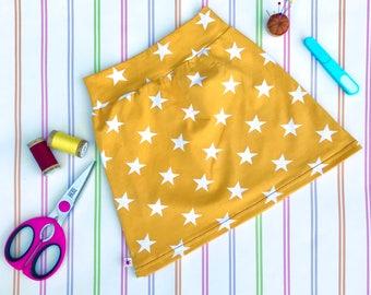Stretch skirt, girls star skirt, yellow skirt, girls jersey skirt, girls mini skirt, organic skirt, girls skirt, jersey mini skirt