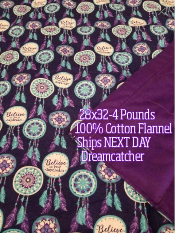 Dreamcatcher, 4 Pound, Weighted Blanket, 4 Pounds, 28x32, READY TO SHIP.  One Business Day Turn Around.  Dreamcatcher/Purple Backing
