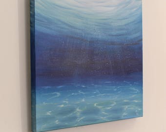 Underwater Scene, Gift for Him, Turquoise Ocean Painting, Seascape, Coastal Decor, Ocean Beach Wall Art, Original Oil Painting on Canvas